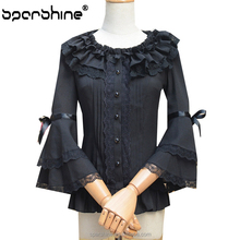 Decorative Patch Work In Blouse Neck Designs Sailor Blouse Long Blouse For Lady Year 2015
