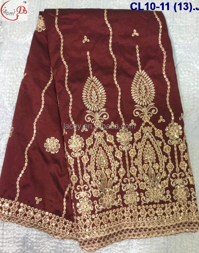CL10-11 (13-24) Nigeria Promotion embroidery lace wedding dress to match african george wrapper