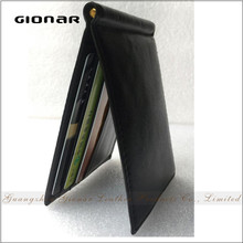 Factory Wholesale Custom Nappa Leather Metal Money Clip RFID Wallet