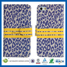 C&T Leopard foil flip belt clip leather case for iphone5