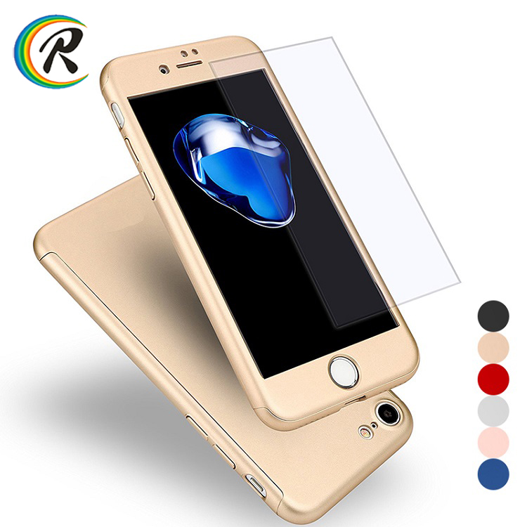 Colorful Hard Shockproof Slim Cover Full Cover Degree Protective Tempered Glass for <strong>iPhone</strong> 8 8 plus case 360