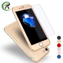 Colorful Hard Shockproof Slim Cover Full Cover Degree Protective Tempered Glass for iPhone 8 8 plus case 360
