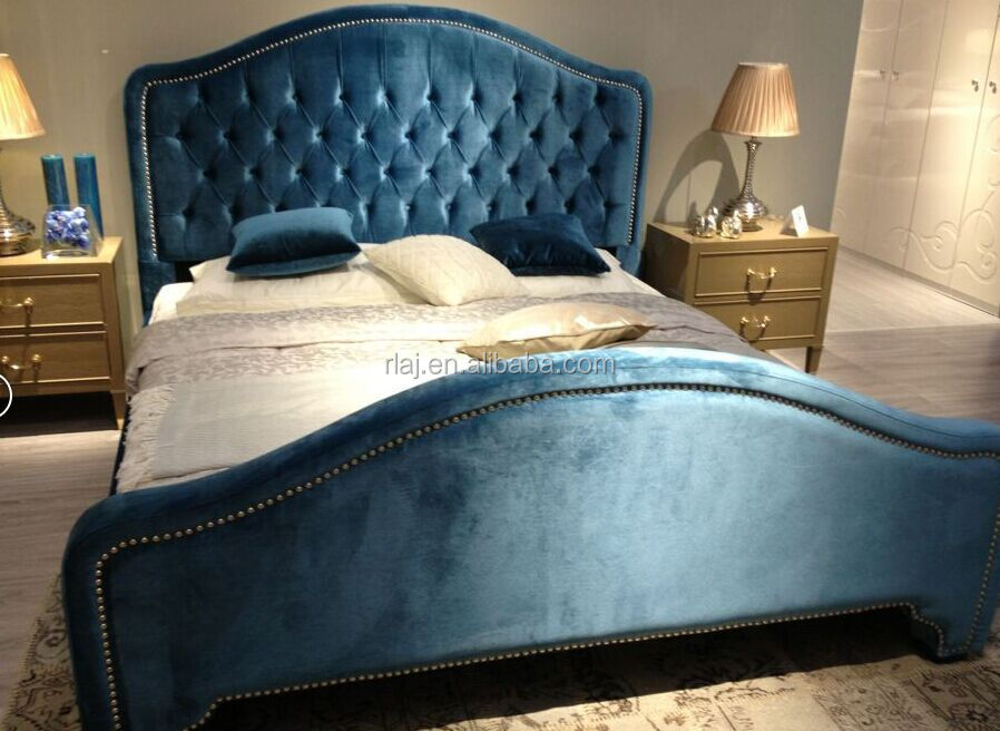 European-style solid wood bed, high-grade cloth art bed for hotel bedroom furniture