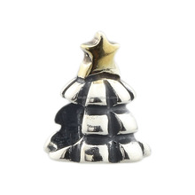 Wholesale Golden Star on Happy Christmas Tree Genuine 925 Sterling Silver Charm for European Bracelet