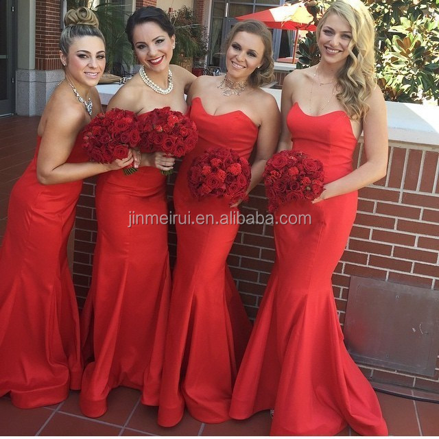 Hot Sale Mermaid Bridesmaid Dresses Red Sweetheart Off The Shoulder Floor Length Dress For Wedding Party Brides Maid Dress Ves