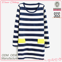 Dress manufacturer long stripe printed sexy women apparel with pockets