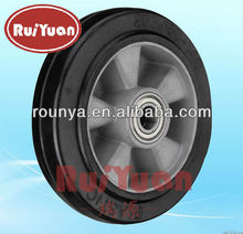 Heavy duty caster elastic rubber molded on Aluminum center wheel