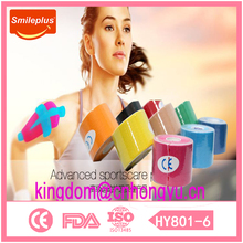 Sport care products name is Relief Kinesiology Tape made in china zhejiang hongyu medical products company