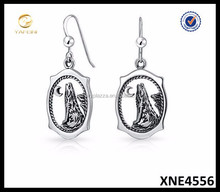 Sterling Silver Howling Wolf Animal Dangle Earrings Wholesale 925 Jewelry