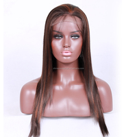 Wholesale price lace front wig immediately shipment 18 inch 4/30# highlight color synthetic hair lace front wig
