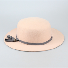 Tassel decoration solid color flat top wide brim wool hat