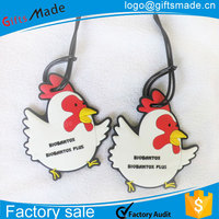 rubber tag loop/frame bag supply/chicken shape pvc luggage tag