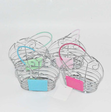 Mini gift basket for business promotion packing metal shopping basket decorative home storage basket for candy makeup kid toy