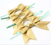 RB405 gold pre-tied satin ribbon bow with elastic loop