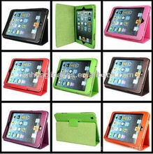new arrival hot selling stand leather case cover for ipad mini two folding case cover skin