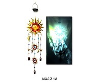Metal Sun and Moon wind chime with solar light hanging decoration