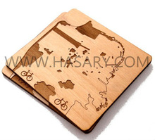 San Francisco Map - Laser Cut Wood Coasters