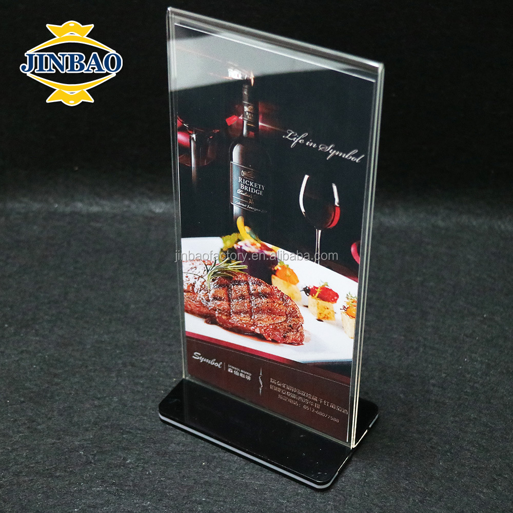 JINBAO Acrylic Table Menu Holder Stand Card desktop table display for Restaurant Mobile Shop and Hotel