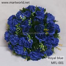 Hottest artificial wedding flower; royal blue color decorative rose bouquet for home,hotel,party&wedding decoration(MFL-001)