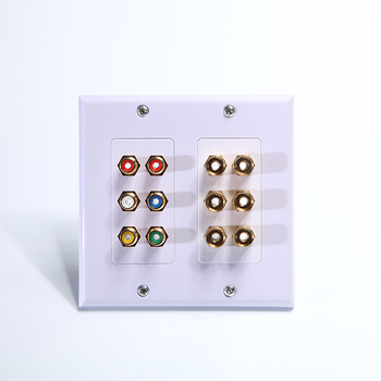 Home Theater Speaker Wall Plate Outlet 6 Speaker Sound Audio Distribution Panel Gold Plated Copper 6 Banana  outlet Plug