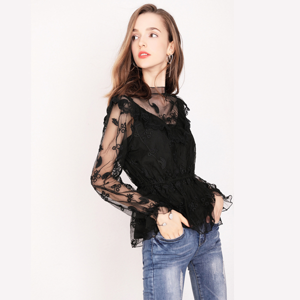 Fashionable wholesale sexy perspective sheer mesh embroidered match flouncing long sleeve lace Blouse