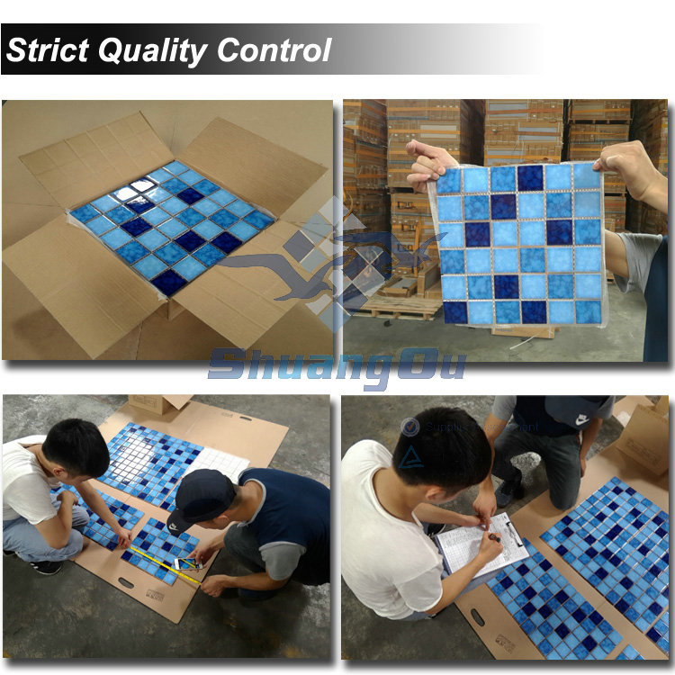 Factory Supply classic blue color Special Design blue swimming pool tiles YH009