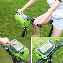 Waterproof Travel Bicycle Front Top Tube Frame Bag Bike Travel Carry Bag with Transparent Screen Touch Phone Holder