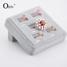 Oirlv Wholesale Custom Jewellery Showcase Displays Square Finger Ring Holder Slot Velvet Jewelry Ring Display Stand