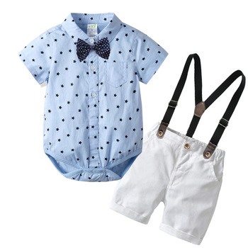New Product 2019 Gentleman Rompers Infant T-shirt Overalls +Shorts baby boy clothes sets