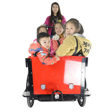 CE leisure family bakfiets three wheels pedal cargo electric bicycle for kids