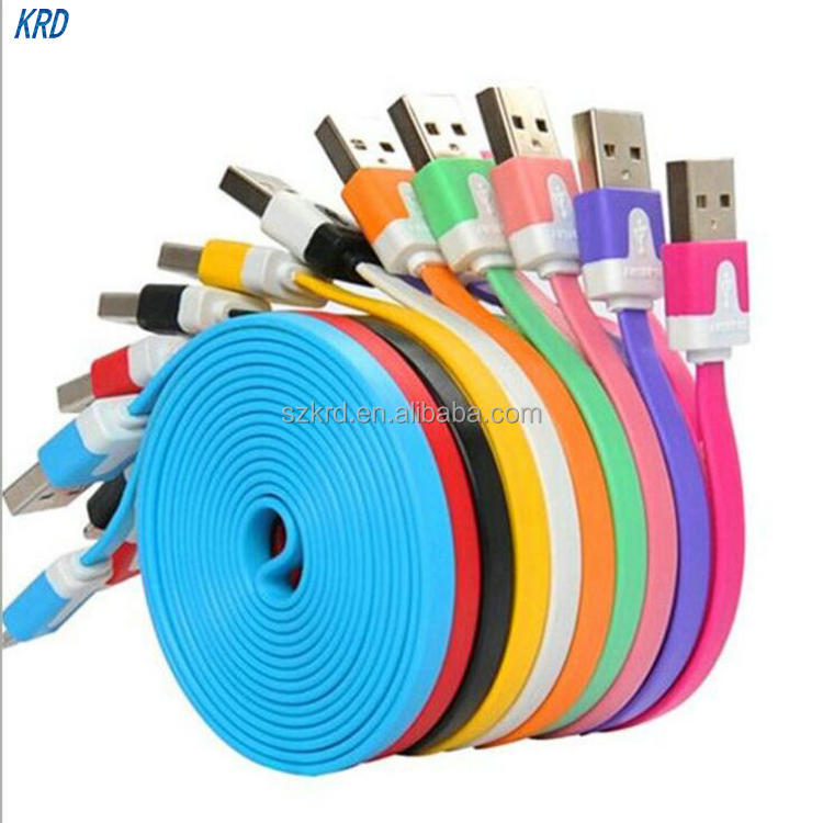 Micro USB 2.0 Cable Data Sync Charger Cable Noodle Cabo Universal USB Charger Cable For Samsung XIAOMI HTC LG X38 Android Phones