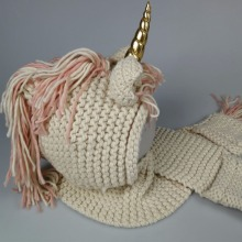Crochet Cartoon Unicorn Winter Hat with Scarf Pocket Hooded Knitting Beanie