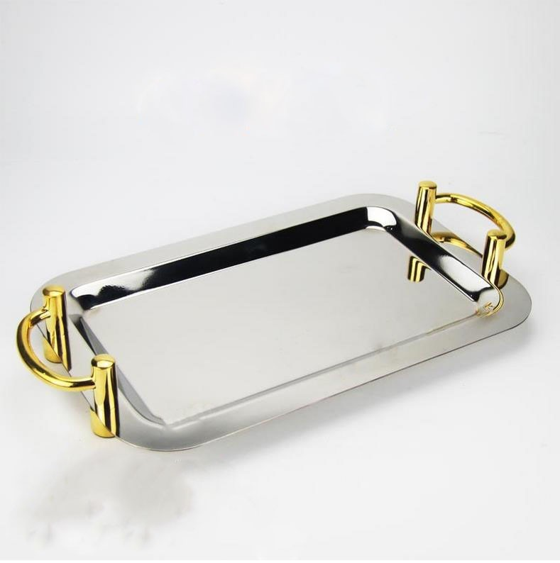 Rectangle With Golder Ears Buffet Dish Serving Tray Stainless Steel Dinner Plate