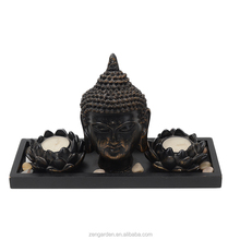 Buddha Head Sculpture Zen Garden Set w/ Lotus Tealight Candle Holders