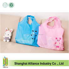 Promotional Eco Reusable Recycled Cute Cartoon Bag Nylon Polyester Folding Shopping Bags