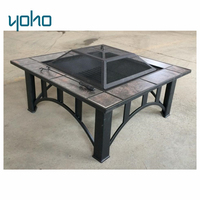 Outdoor metal tile table top metal square fire pit with removable tiles