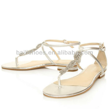 2014 T Shape Decorative Lady Fancy Flat Sandals