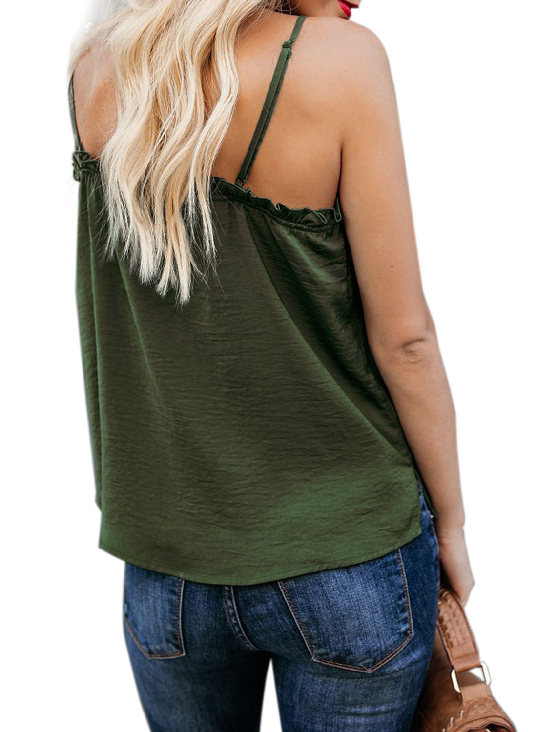 V-Neck Ruffle Adjustable Spaghetti Strap Tank Top