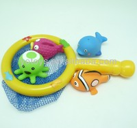 Baby bath toy squirts sea animal fish net toy set