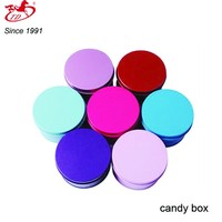 hot sale round candy/chocolate tin box, custom logo cans
