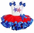 Red Blue Star Satin Trimmed Tutu with Oh my Star and Stripes White Tank Top