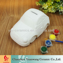 Ceramic DIY Kid's Gift Piggy Bank Car Shape Unpainted Ceramic Figurines
