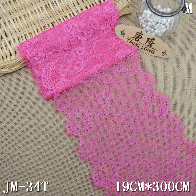 wholesale 19cm chantilly hot pink lace trim