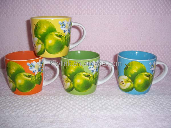 bright color 11OZ apple design decals printed stout shape ceramic coffee mugs/stoneware tea cup , KL8088-539