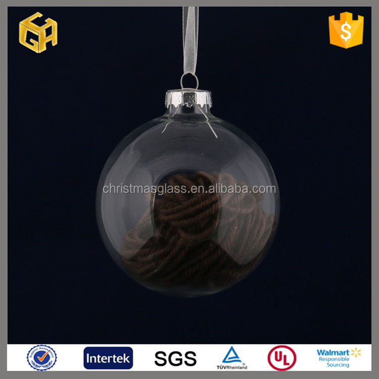 Decorations clear glass ball hanging Christmas tree which is equipped with wool