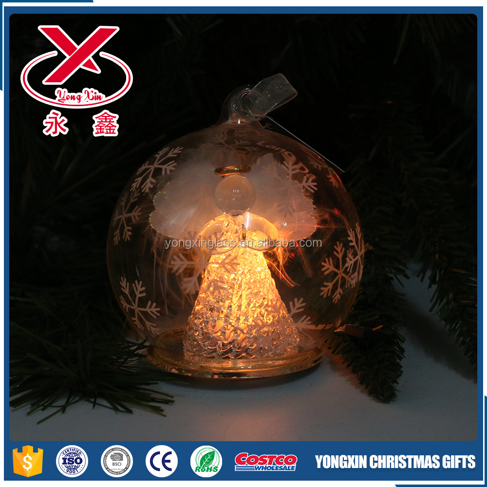 LED lighted clear Christmas glass ball with angel inside for Christmas ornaments