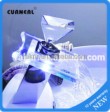 Color Changing LED Waterfall Bathroom Sink Faucet with Pop up Waste Lift