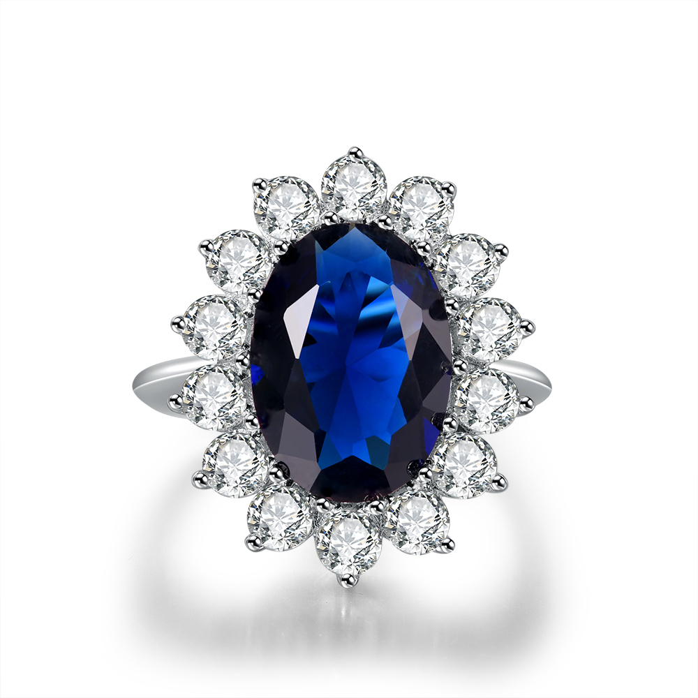 VLOVE tendencia British Kate Princess fake blue Oval sapphire on rings with big stone