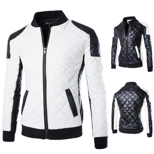 Fashion Soft Touch Side Pockets Autumn Winter Leather Jackets Black White PU Coats Men