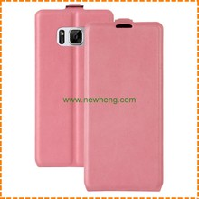 High quality open up and down flip pu leather case for samsung galaxy s8